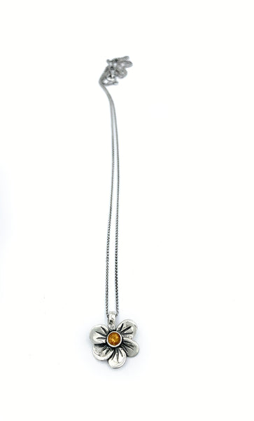 flower necklace, citrine silver pendant, poppy flower necklace