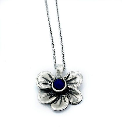 flower necklace, blue lapis silver pendant, poppy flower necklace