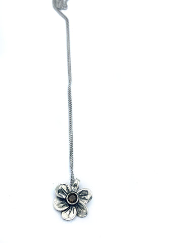 silver flower pendant, smoky quartz necklace, poppy flower necklace