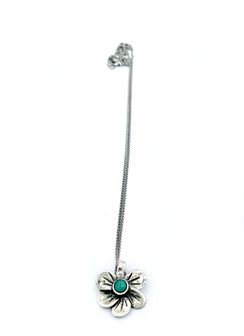 silver flower pendant, turquoise pendant, poppy flower necklace