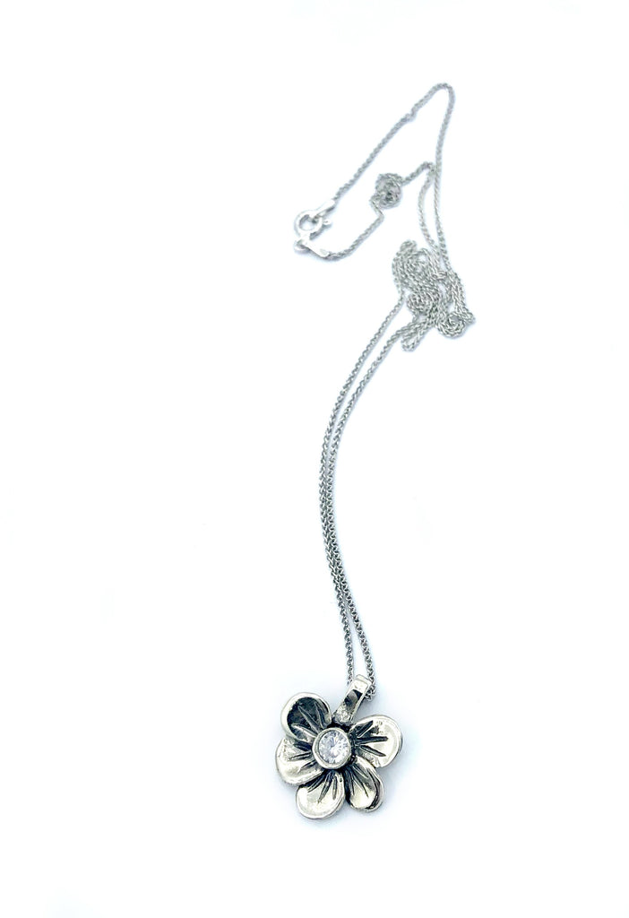 silver flower pendant, zircon pendant, poppy flower necklace
