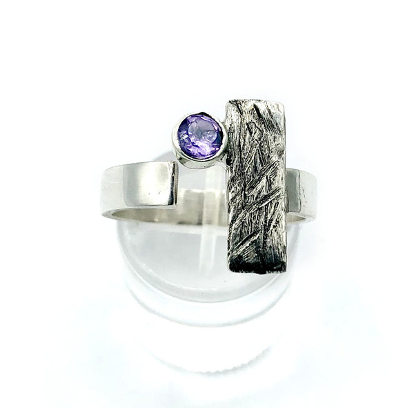 Amethyst ring, February birthstone ring, geometric ring, rectangle ring