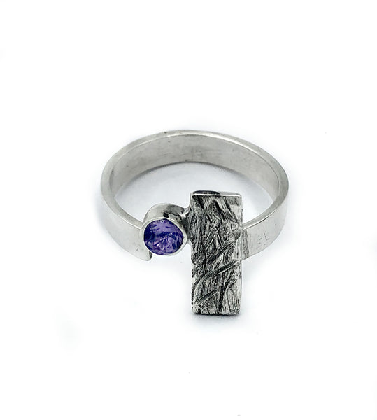 Amethyst ring, February birthstone ring, geometric ring, rectangle ring - Handmade with love from Greece