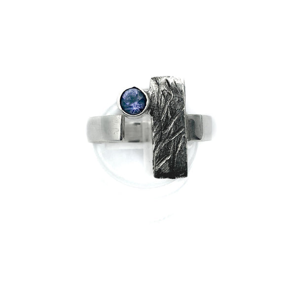 blue iolite ring, silver ring, geometric ring, rectangle ring - Handmade with love from Greece