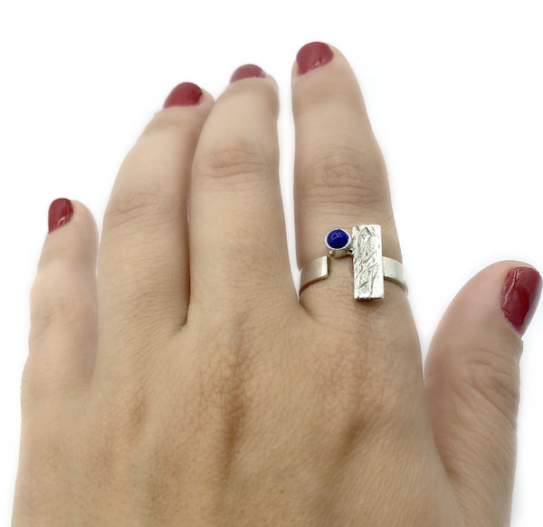 blue lapis ring, geometric ring, blue stone ring, rectangle silver ring