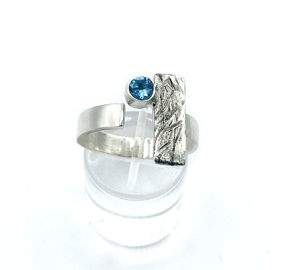 Blue topaz ring, November birthstone ring, geometric silver ring
