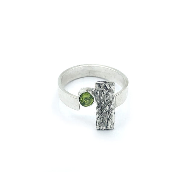 rectangle ring, peridot ring, silver geometric ring with green stone ring