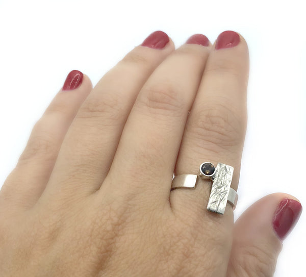 rectangle ring, smoky quartz ring, silver geometric ring