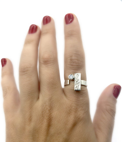 rectangle ring, zircon ring, silver geometric ring