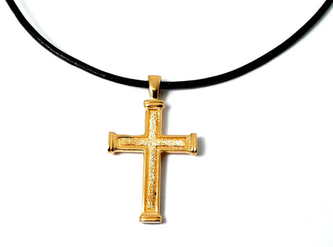 Men's gold cross necklace with leather rope, gold plated silver cross, silver cross pendant - Handmade with love from Greece