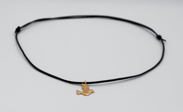 gold dove pendant, gold bird charm, leather cord bird charm necklace - Handmade with love from Greece