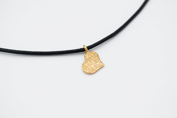 gold heart pendant silver, leather cord adjustable heart charm necklace  -