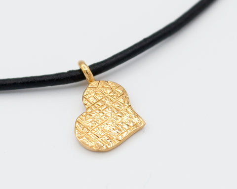 gold heart pendant, gold heart charm, gold heart necklace leather cord - Handmade with love from Greece