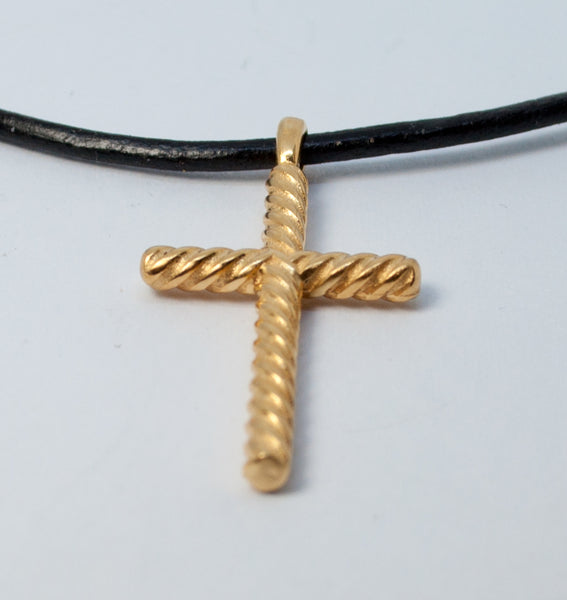 Gold rope silver cross necklace with leather cord,rope silver cross, gold plated silver cross pendant - Handmade with love from Greece