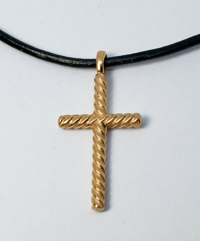 Gold rope silver cross necklace with leather cord,rope silver cross, gold plated silver cross pendant