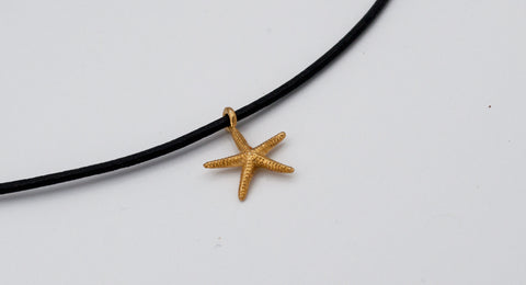 gold starfish pendant silver, leather cord adjustable starfish charm necklace - Handmade with love from Greece