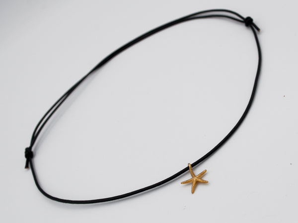 gold silver charms starfish silver pendant leather cord, starfish charm, silver starfish necklace leather rope adjustable silver starfish pendant