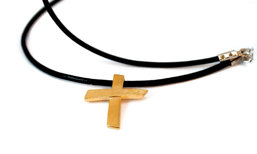 Gold plated Silver cross necklace with leather rope, textured silver cross, silver cross pendant - Handmade with love from Greece
