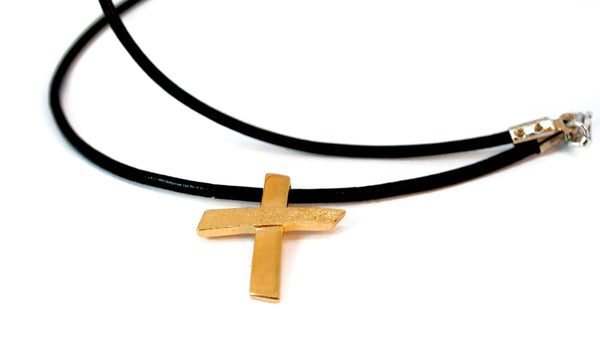 Gold plated Silver cross necklace with leather rope, textured silver cross, silver cross pendant