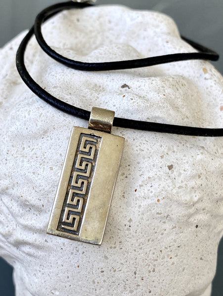 greek key necklace silver, rectangle silver necklace