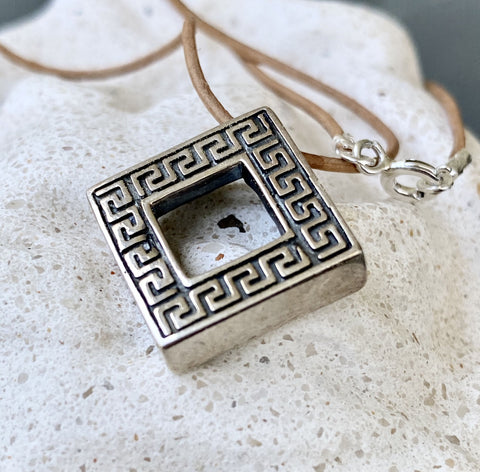 greek key necklace silver, square silver necklace