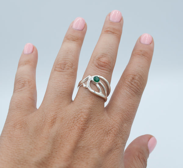 Green agate Silver ring, green stone ring, contemporary silver ring