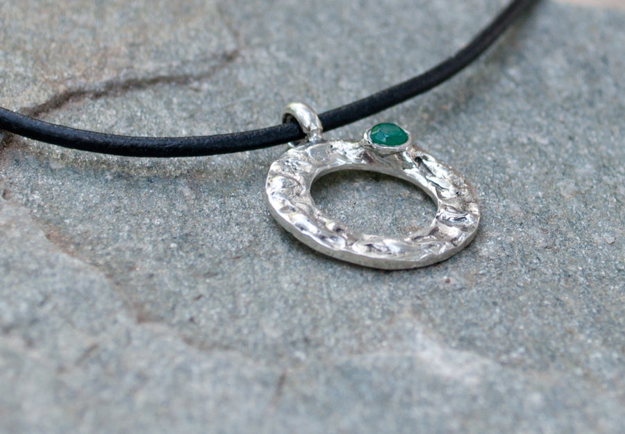 green agate silver pendant, karma pendant, geometric circle pendant, green stone pendant - Handmade with love from Greece