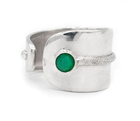 green agate silver ring adjustable silver ring green stone ring Santorini Ring