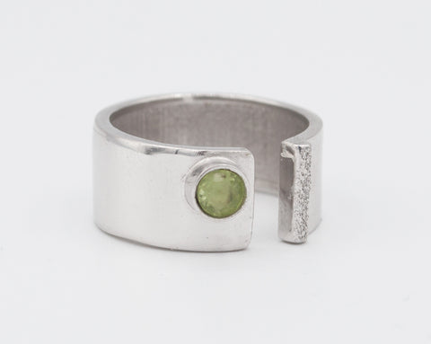 green peridot silver ring adjustable August Birthstone green stone ring