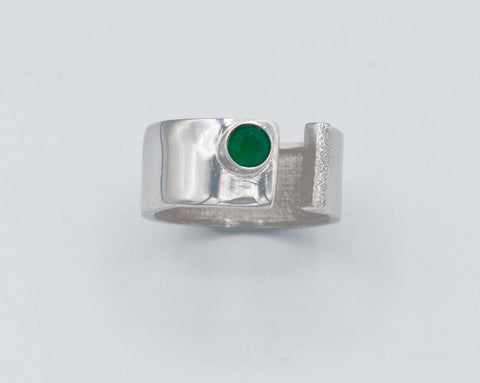 Green Agate silver ring adjustable silver ring green stone ring