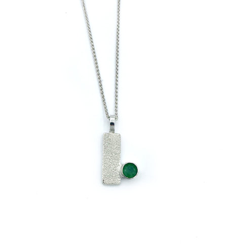 green agate silver pendant textured small pendant silver chain - Handmade with love from Greece