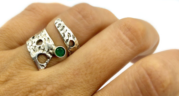 Abstract silver ring, green agate ring, silver adjustable ring, modern ring