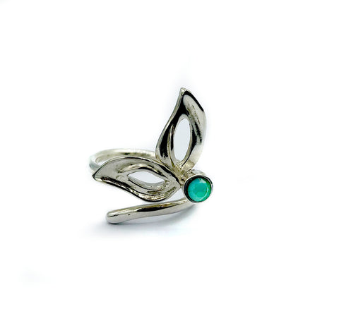 flower ring, green agate silver ring, contemporary silver ring adjustable - Handmade with love from Greece
