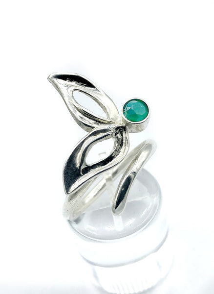 flower ring, green agate silver ring, contemporary silver ring adjustable
