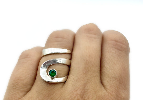 green agate silver adjustable ring, drop shape silver ring, contemporary silver ring