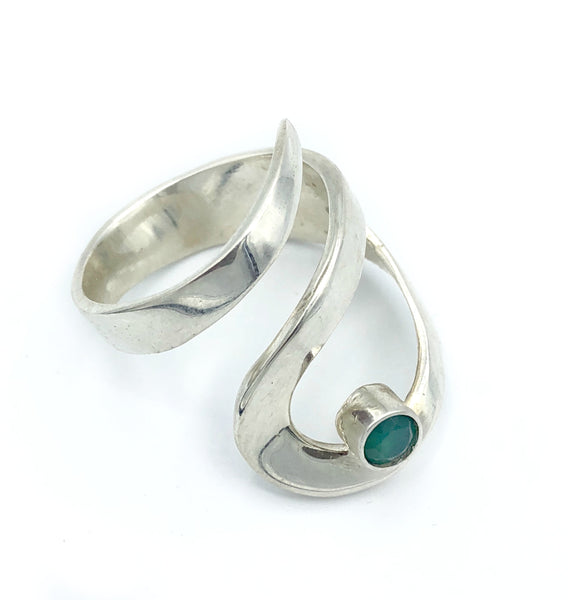 green agate silver adjustable ring, drop shape silver ring, contemporary silver ring - Handmade with love from Greece