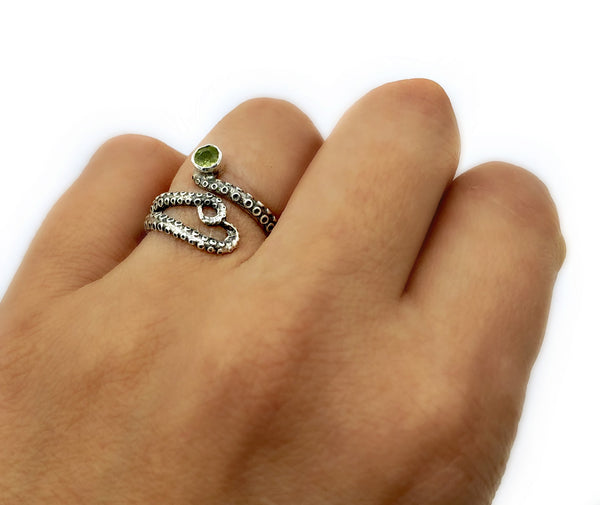 tentacle ring, octopus ring, silver octopus ring