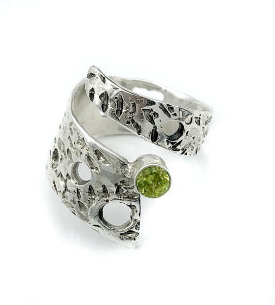 Abstract silver ring, peridot ring, silver adjustable ring, August birthstone ring