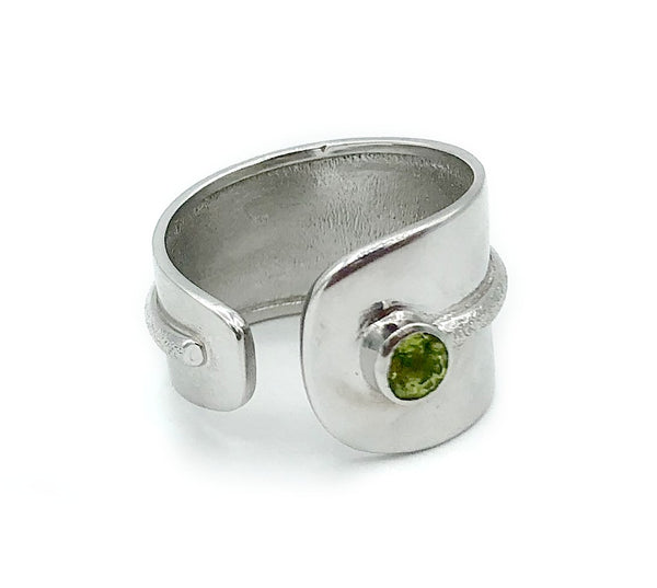 green peridot silver ring adjustable green stone ring August birthstone ring