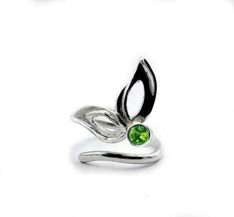 flower ring, green peridot silver ring, contemporary silver ring adjustable - Handmade with love from Greece