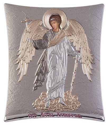 Guardian Angel -  Greek Byzantine Christian Orthodox Silver Icon, Grey 11.8 x 14.6 cm - Handmade with love from Greece