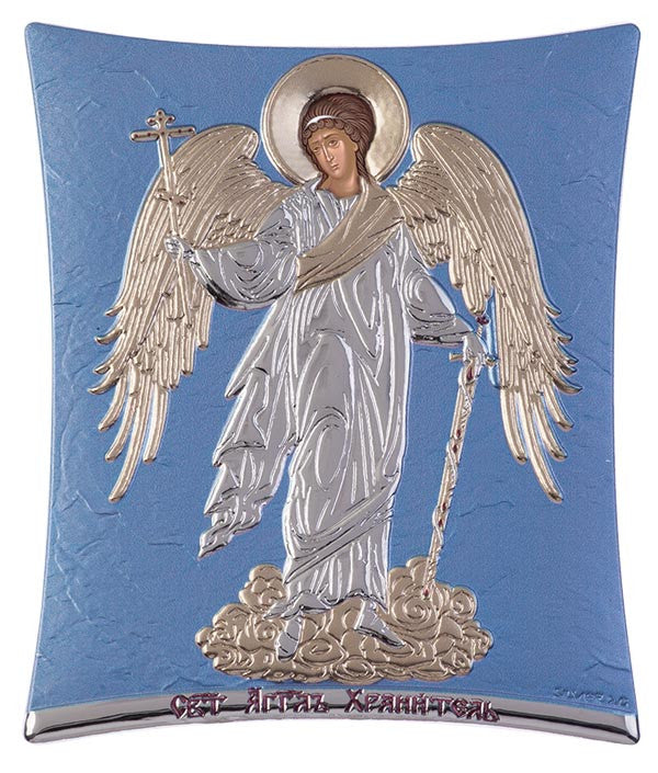 Guardian Angel Greek Byzantine Christian Orthodox Silver Icon, Blue Ciel 11.8x14.6cm