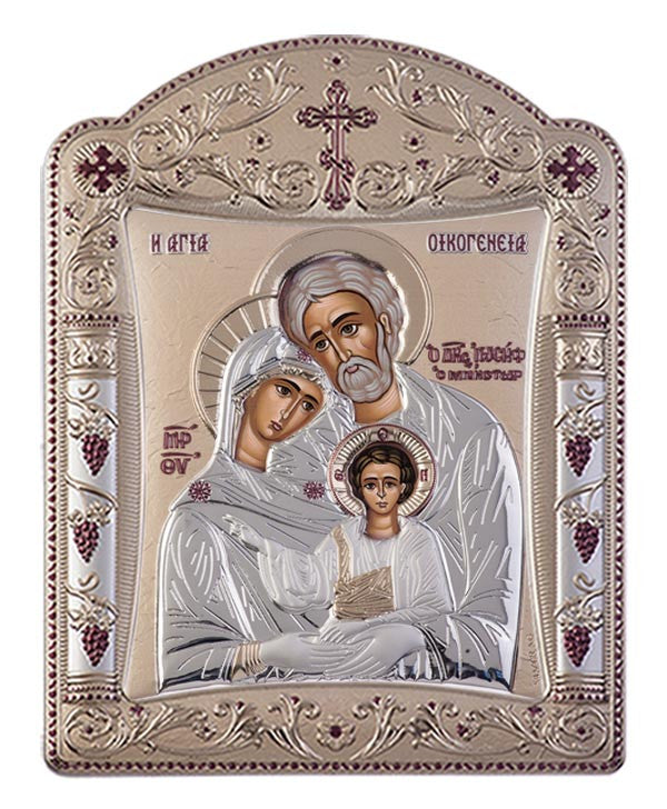 Holy Family Byzantine Greek Christian Orthodox Silver Icon, Gold 16.7x22.4cm