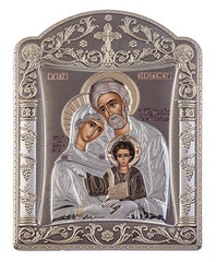 Holy Family Byzantine Greek Christian Orthodox Silver Icon, Grey 22.7x30.5cm