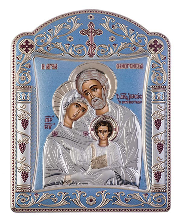 Holy Family Byzantine Greek Orthodox Silver Icon, Blue Ciel 16.7x22.4cm - Handmade with love from Greece