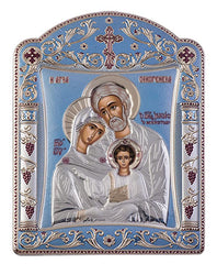 Holy Family Byzantine Greek Orthodox Silver Icon, Blue Ciel 16.7x22.4cm