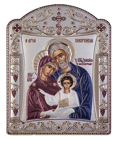 Holy Family Byzantine Greek Orthodox Silver Icon, Burgundy 16.7x22.4cm - Handmade with love from Greece