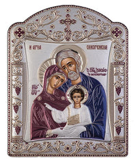 Holy Family Byzantine Greek Orthodox Silver Icon, Burgundy 16.7x22.4cm