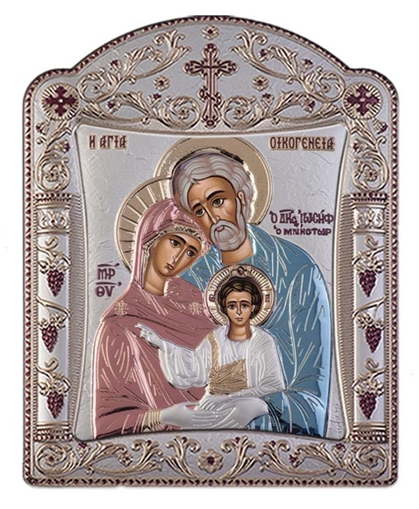 Holy Family Byzantine Greek Orthodox Silver Icon Red Blue