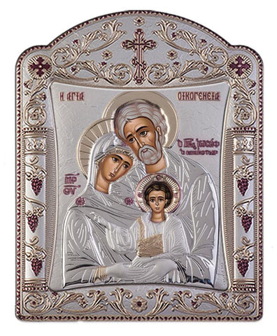 Holy Family Greek Orthodox Silver Icon, Silver 22.7x30.5cm - Handmade with love from Greece